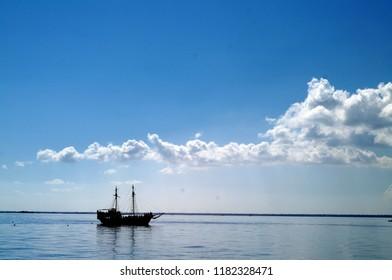 Pirate ship in the port of Djerba in Tunisia - tourist boat - boat for tourism on the island of Djerba in Tunusia, in the Mediterranean Sea