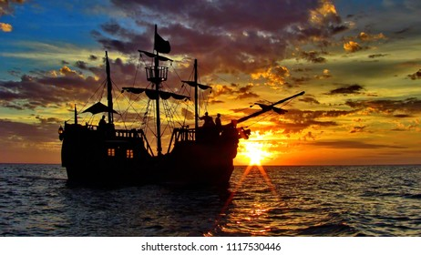 Pirate Ship in the Sunrise