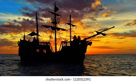 Pirate ship at sunset