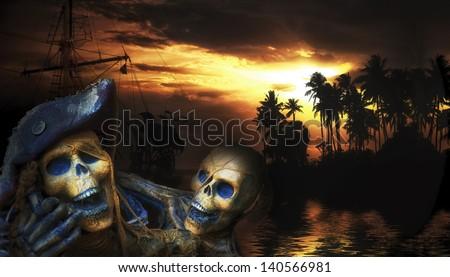 Pirate skeleton in the