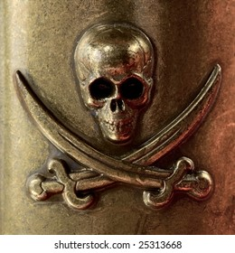 Pirate skull and crossbones. Metal grunge logo with two sabers.