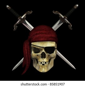 A pirate skull with crossed daggers on black - 3d render.