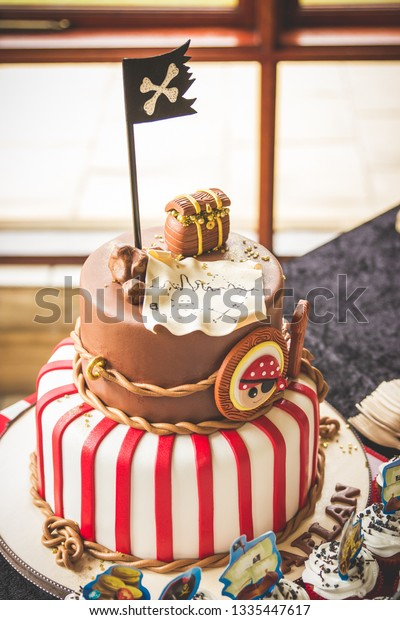 Tremendous Pirate Themed Kids Birthday Cake Red Stock Photo Edit Now 1335447617 Funny Birthday Cards Online Eattedamsfinfo