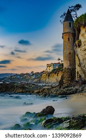 Pirate tower, at Laguna Beach in Orange County California, USA.