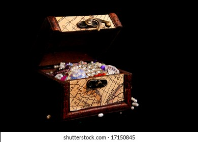 pirate treasure in a chest box with inner light