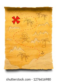 Pirate treasure map isolated