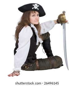 Pirate - young woman with pirate hat and rapier on white