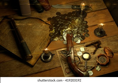 Pirate's accessories on a table upside view