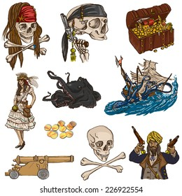 Pirates, Buccaneers and Sailors - Collection (colored pack no.2) of an hand drawn illustrations. Full sized hand drawn illustrations drawing on white background (isolated).