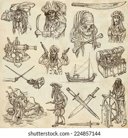 Pirates, Buccaneers and Sailors - Collection (no.4) of an hand drawn illustrations. Full sized hand drawn illustrations drawing on old paper.