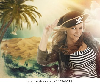 Pirates of the Caribbean, grungy funny poster with palm and island of treasure on the background