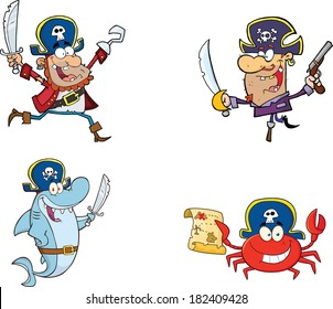 Pirates Cartoon Characters. Raster Collection Set