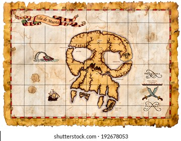 Pirates map on white background