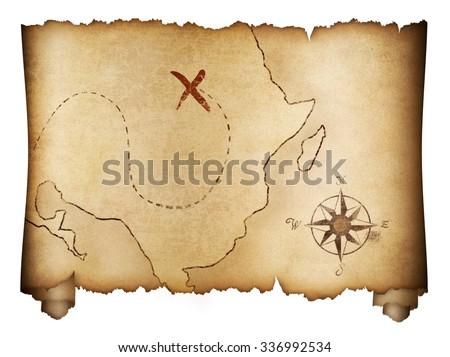 Pirates old treasure map