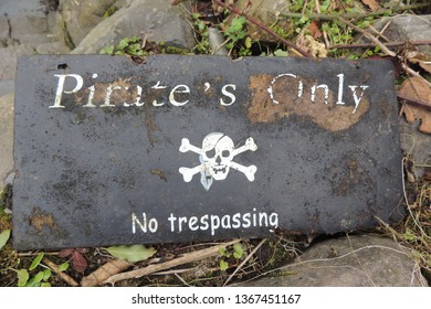 Pirates Only - No trespassing - a slate sign in Clovelly in North Devon