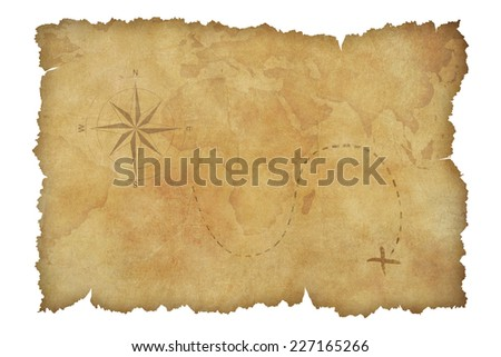 Pirates parchment treasure map