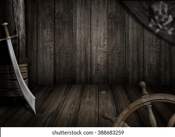 Pirates ship background with old jolly roger flag and saber