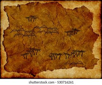 Pirate's treasure map on parchment, treasure Island