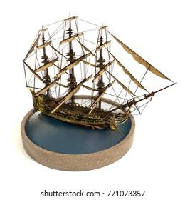 Piraye Ship 3d Illustration