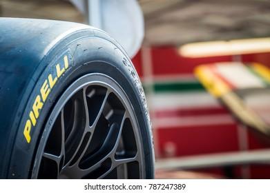 Pirelli tyres in Circuit de Barcelona, Catalonia, Spain.