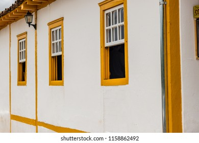 PIRENOPOLIS, BRAZIL - 07 JANUARY, 2017: Yellow colonial windows in Pirenópolis Goias