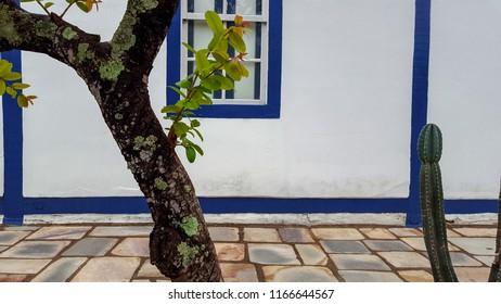 PIRENOPOLIS, BRAZIL - 07 JANUARY, 2017: Blue colonial windows in Pirenópolis Goias