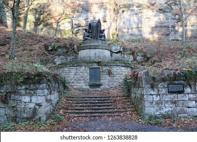 Pirna-Liebthal, Germany, 11-17-2018, the memorial of Richard Wagner in the Liebethaler Grund near to Pirna located at the small river Wesenitz