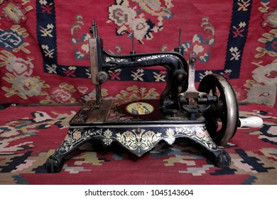 PIROT, SERBIA - JULY 27, 2017: antique sewing machine Queen Margherita of Savoy in Old House Hristic Family in Pirot, Serbia
