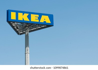 PISA, IT - APRIL, 19 2018;  IKEA pole sign out of the Pisa's store in Italy