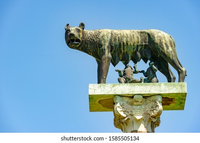 Pisa / Italy. 05.28.2015. Romulo and Remo breastfed by Luperca, the wolf that according to Roman mythology breastfed the founders of Rome