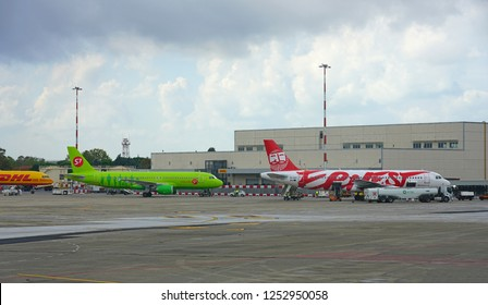 PISA, ITALY -1 OCT 2018- View of an airplane from low-cost Italian airline Ernest (EG) at the Galileo Galilei Pisa International Airport (PSA), the main airport in Tuscany, Italy.