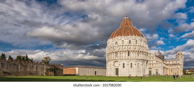 PISA, ITALY - 14 SEPTEMBER, 2017: Pisa Cathedral with the Leaning Tower of Pisa on Piazza dei Miracoli in Pisa, Tuscany, Italy on 14 September, 2017.