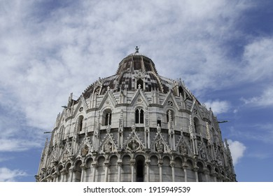 Pisa, Italy - 16th of October 2019. Assumption Cathedral in sunny day with blue sky. Architecture of Renaissance epoch. Editorial use only.