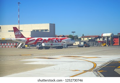 PISA, ITALY -28 SEP 2018- View of an airplane from low-cost Italian airline Ernest (EG) at the Galileo Galilei Pisa International Airport (PSA), the main airport in Tuscany, Italy.