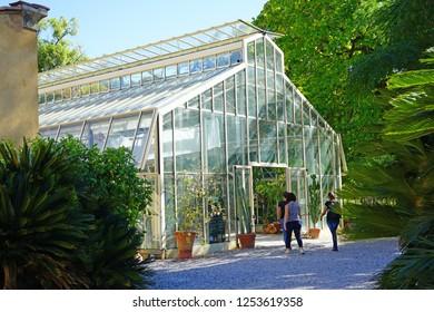 PISA, ITALY -29 SEP 2018- View of the  Orto Botanico dell'universita di Pisa, a landmark botanical garden and museum located in Pisa, Tuscany.