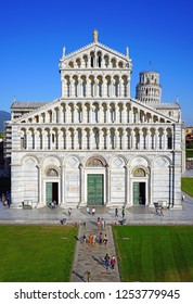 PISA, ITALY -29 SEP 2018- View of the   Pisa Cathedral (Santa Maria Assunta) on the Square of Miracles (Piazza dei Miracoli) complex near the Leaning Tower of Pisa in Tuscany, Central Italy.