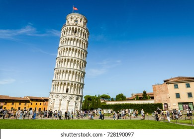 Pisa, Italy - August 17, 2014: The Leaning Tower of Pisa in the Square of Miracles (Piazza dei Miracoli).