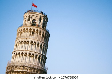 PISA, ITALY - CIRCA SEPTEMBER 2009: The top of the famous Leaning Tower of Pisa