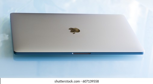 PISA, ITALY - DECEMBER 2016: Macbook Pro 15 inches with touchbar. The fourth generation MacBook Pro was announced on October 27, 2016.