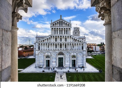 PISA, ITALY - JANUARY 09, 2018: Romanesque medieval Roman Catholic Pisa Cathedral at Square of Miracles (Piazza dei Miracoli or Piazza del Duomo). UNESCO World Heritage Site.