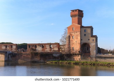 Pisa, Italy - January 28, 2018: The Cittadella of Pisa is a medieval fortress on the bank of the river Arno.