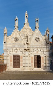 Pisa, Italy - January 28, 2018: Santa Maria della Spina is a medieval small church in gothic style in the city of Pisa in Italy.