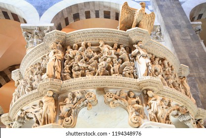 PISA, ITALY - JULY 7, 2018: Italian gothic Pulpit upper detail by Giovanni Pisano in Pisa Cathedral at Piazza dei Miracoli (Piazza del Duomo)