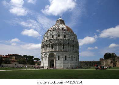 PISA, ITALY, JUNE 06, 2016 : exteriors and architectural details of Pisa Baptistry, june 06, 2016 in Pisa, Italy