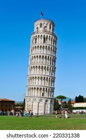 PISA, ITALY - JUNE 28 2012: Close up of the Leaning Tower crowded with tourists from around the world.