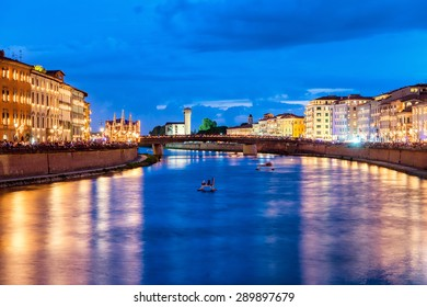 Pisa, Italy. Luminara lights festival with Lungarni Gambacorti and Pacinotti view.