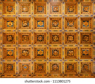 PISA, ITALY - MAY 31, 2018: Wooden coffered ceiling of Roman Catholic Pisa Cathedral at Piazza dei Miracoli (Piazza del Duomo), a famous UNESCO World Heritage Site