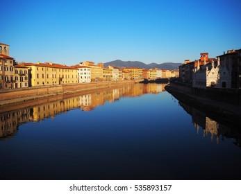 Pisa, Italy on 7th December 2016: Arno river in between of Pisa city