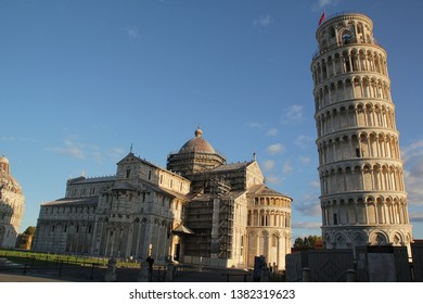 Pisa, Italy - September 03,2017: Beautiful Pisa tower and Pisa cathedral in the blue sky