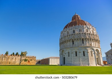 PISA, ITALY - SEPTEMBER 2016: Pisa Baptistery of St.John, Battistero di San Giovanni, Roman Catholic ecclesiastical building in Pisa, Italy on September 22, 2016